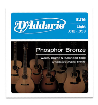 D'Addario Phosphor Bronze EJ16 Light 12-53